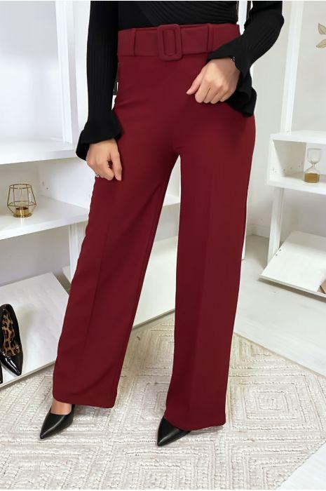 Pantalon palazzo bordeaux avec ceinture