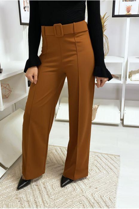 Pantalon palazzo camel avec ceinture