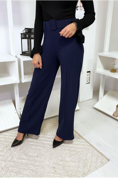 Pantalon palazzo marine avec ceinture