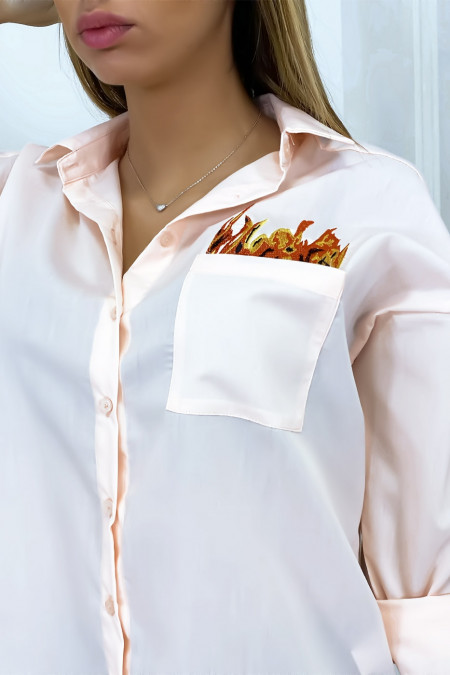Pink shirt embroidered on the front and back