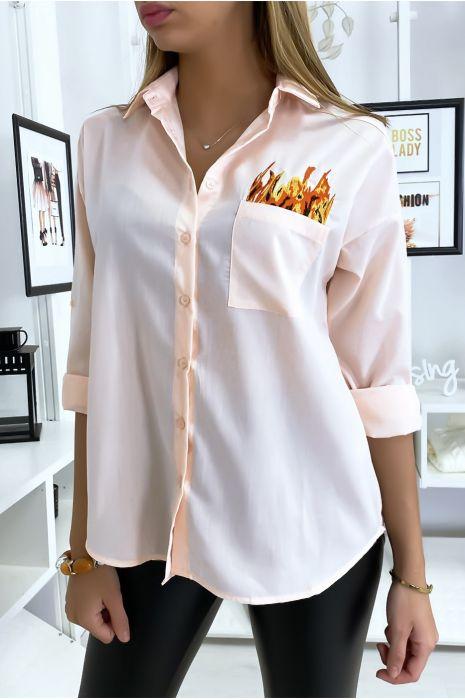 Chemise rose brodé à l'avant et à l'arrière