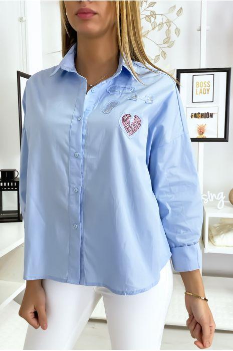Blauw overhemd met inzet van strass