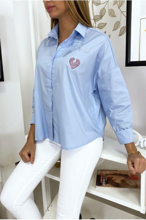 Chemise bleu avec empiècement en strass