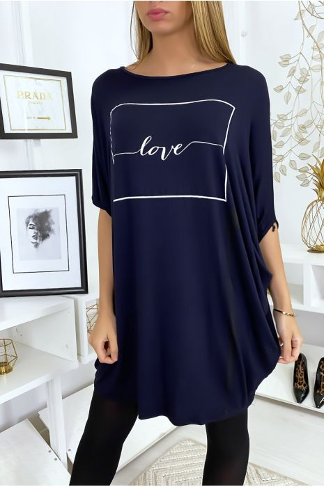 "Grande robe bleu marine à inscription ""Love"""