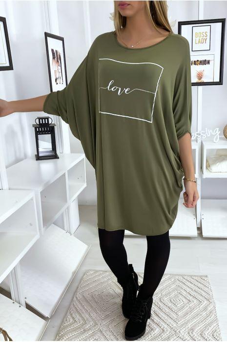 """Grande robe kaki à inscription """"Love"""""""
