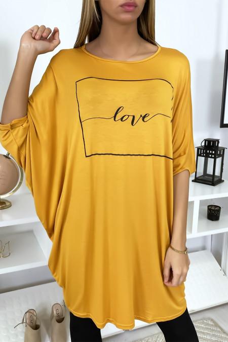 """Grande robe moutarde à inscription """"Love"""""""
