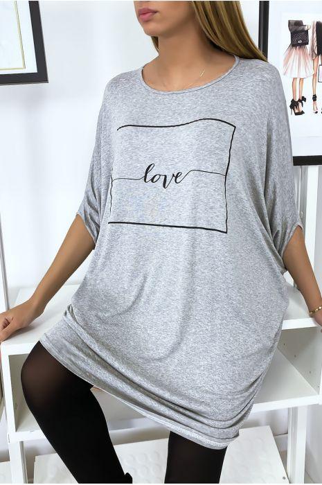 """Grande robe grise à inscription """"Love"""""""