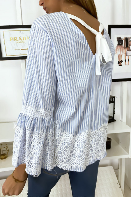 Sky blue striped blouse with lace