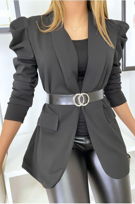 Blazer noir cintrée avec ceinture