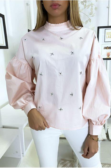 Roze blouse met pofmouwen met strass steentjes