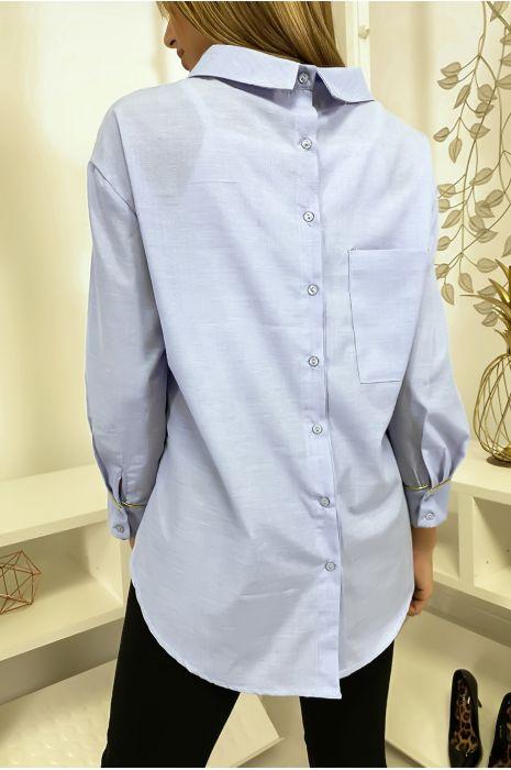 Blauw overhemdstijl binnenstebuiten