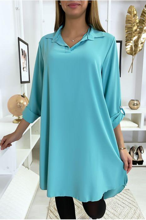 Robe tunique turquoise asymétrique