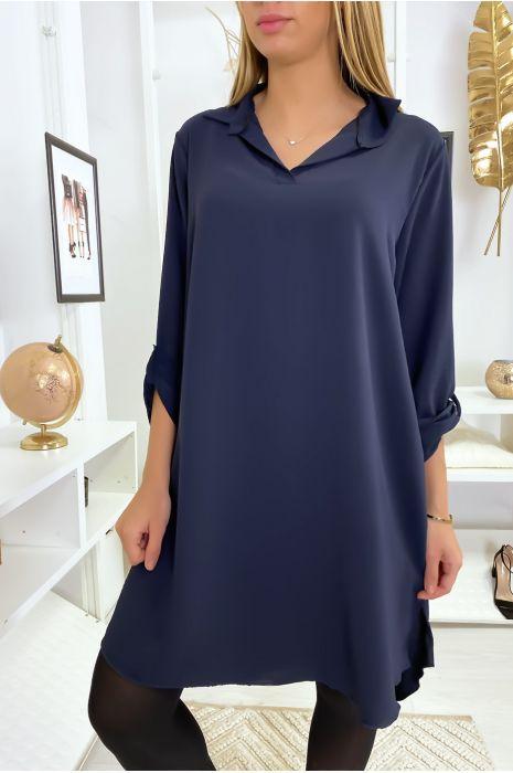 Robe tunique marine asymétrique