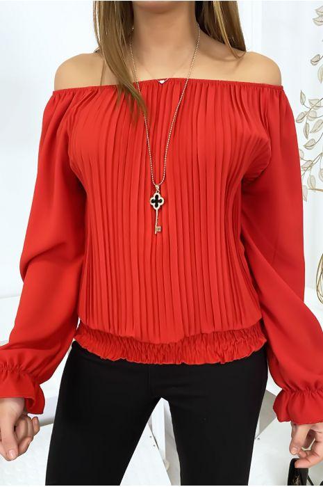 Rode elastische bardottop met mooie kraag