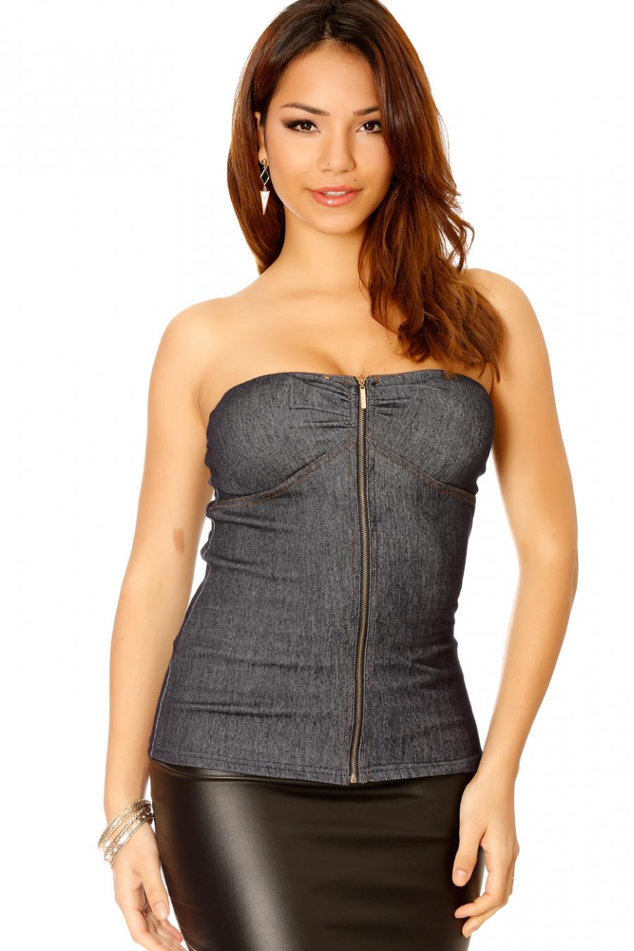Bustier marine couleur jeans avec fermeture à l'avant. Mode femme pas cher 28929