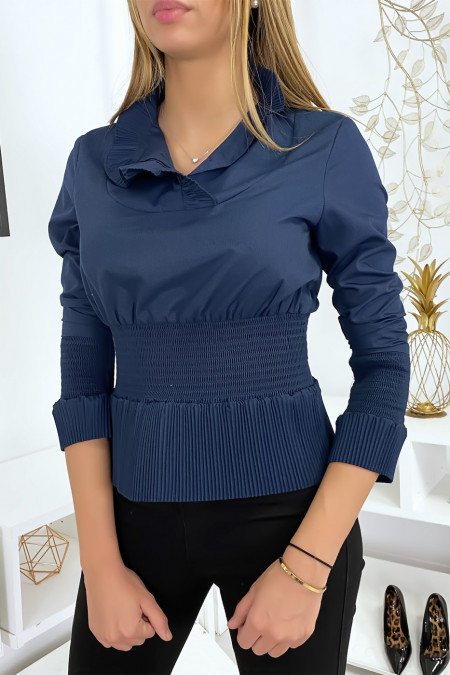 Ruched navy blouse top