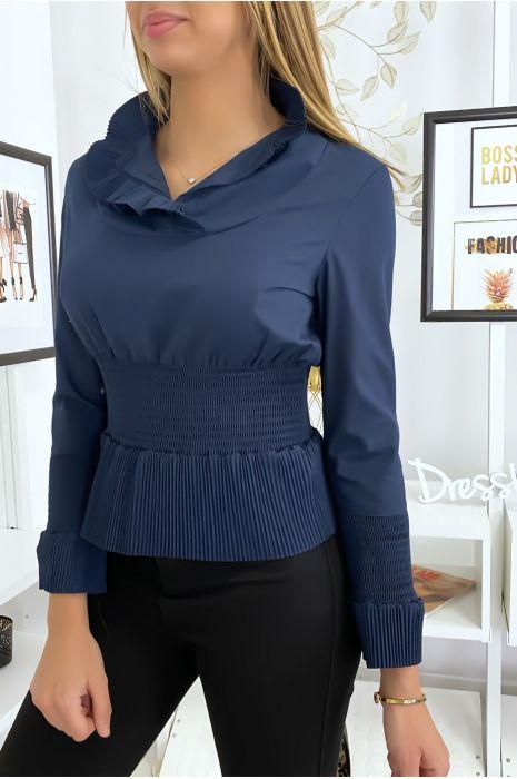 Navy blouse top met ruches