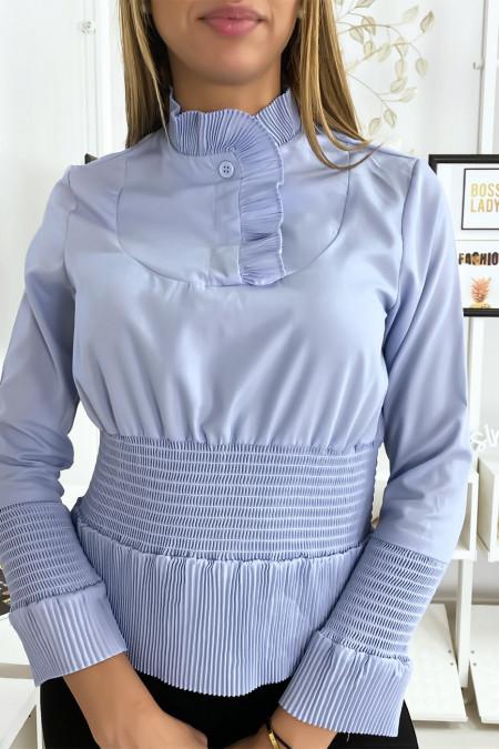 Top blouse bleu style froncé