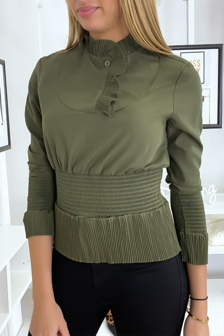 Khaki blouse top with gathered style