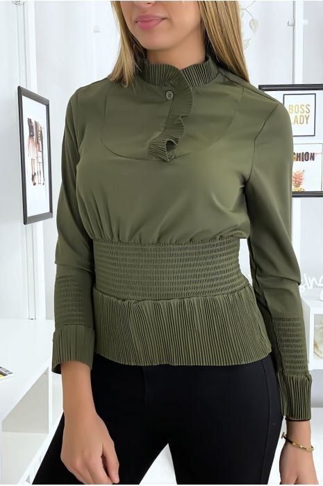 Top blouse kaki style froncé