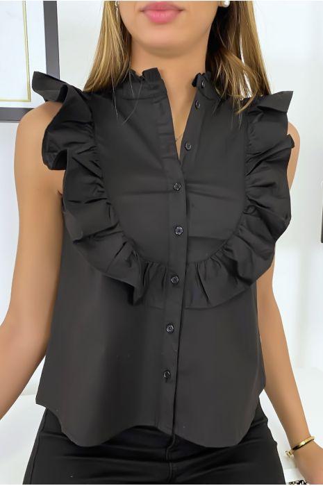 Chemise noir sans manches