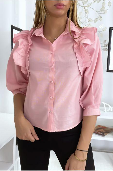 Chemise rose froncée devant