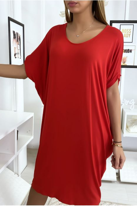 Robe tunique rouge très ample manche courte