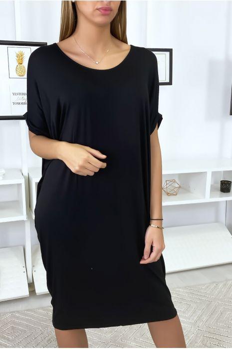 Robe tunique noir très ample manche courte