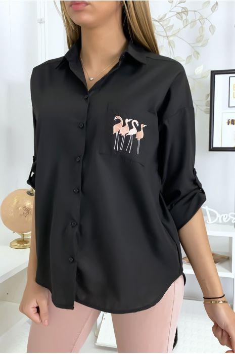 Zwart flamingo overhemd