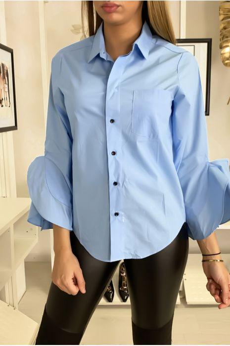 Chemise bleu à volants ouverts