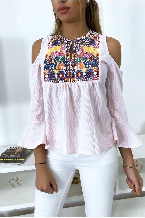 Roze gestreepte blouse met schouderdetails