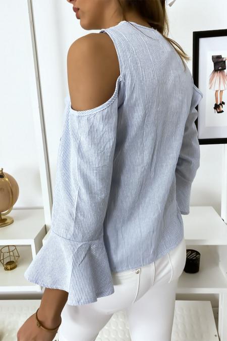 Blauw gestreepte blouse met schouderdetails