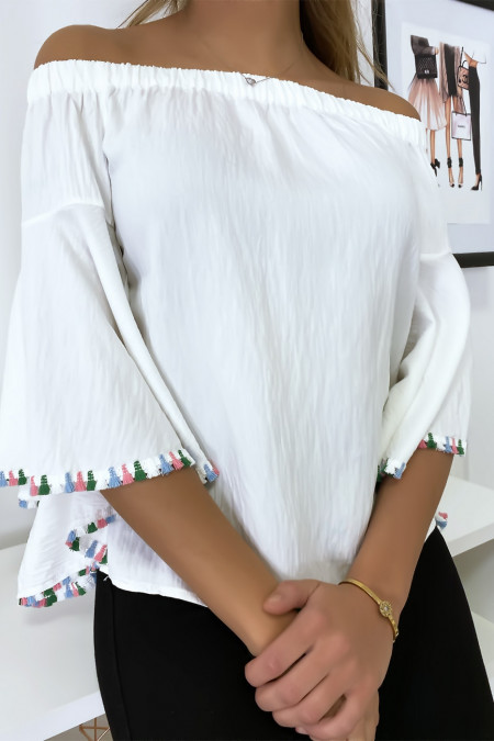 White bardot blouse with loose sleeves