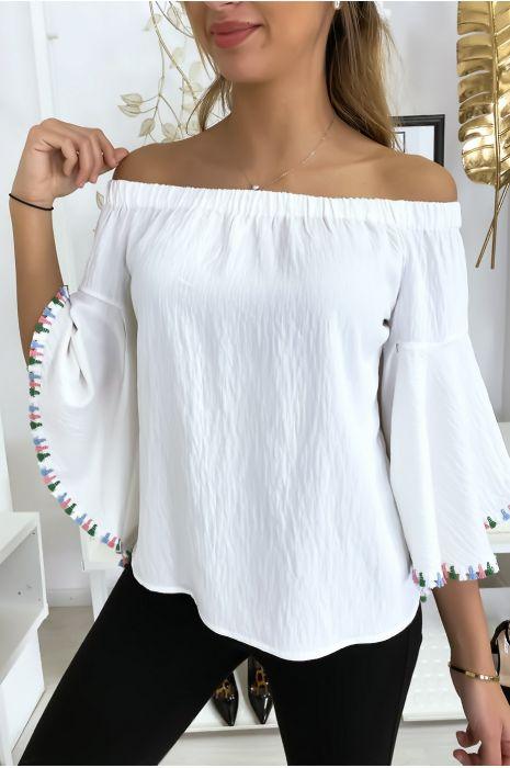 Witte bardot blouse met losse mouwen