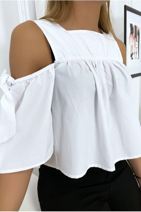 Witte crop top blouse met strikjes