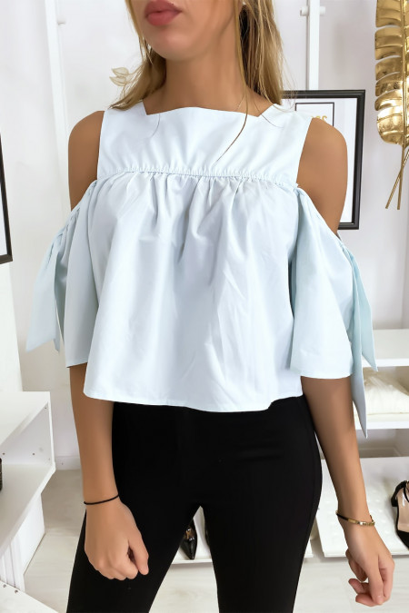 Blue crop top blouse with bows