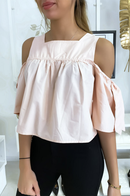 Pink crop top blouse with bows