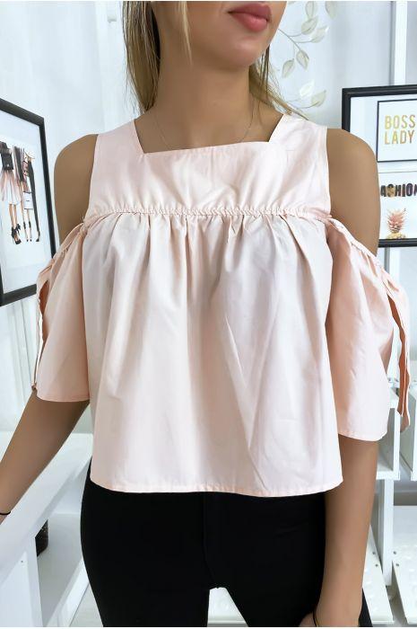 Roze crop top blouse met strikjes