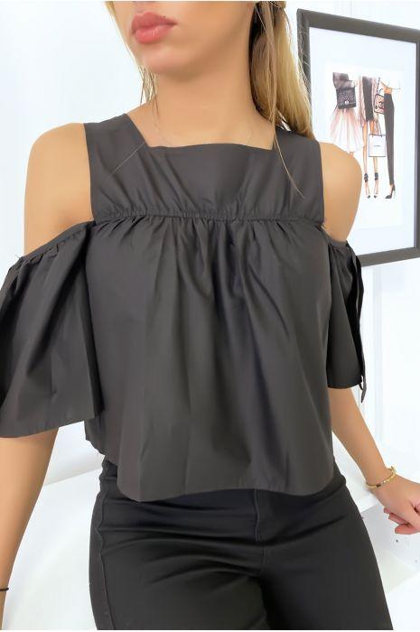 Zwarte crop top blouse met strikjes