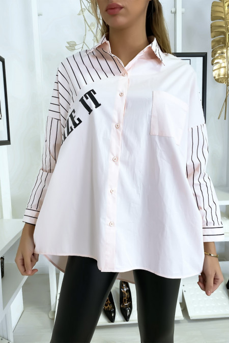 Oversized and asymmetric pink shirt
