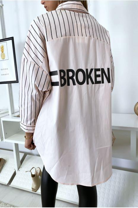 Oversized en asymmetrisch roze overhemd