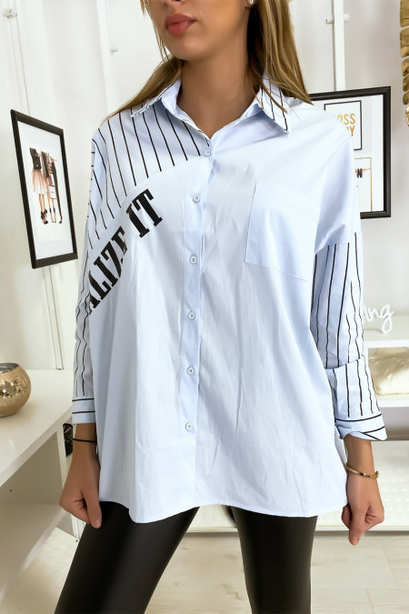 Oversized and asymmetric blue shirt
