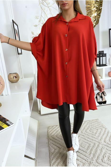 Chemise tunique large rouge