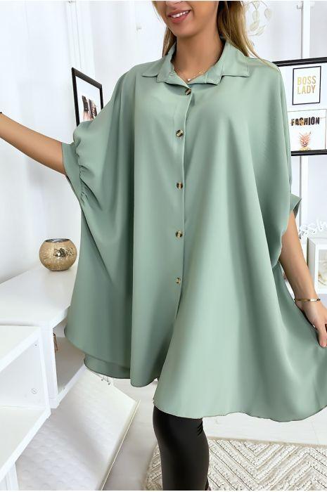 Chemise tunique large turquoise