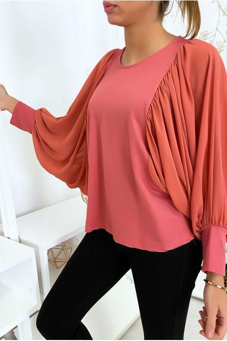 Jolie blouse rose à manches drapées