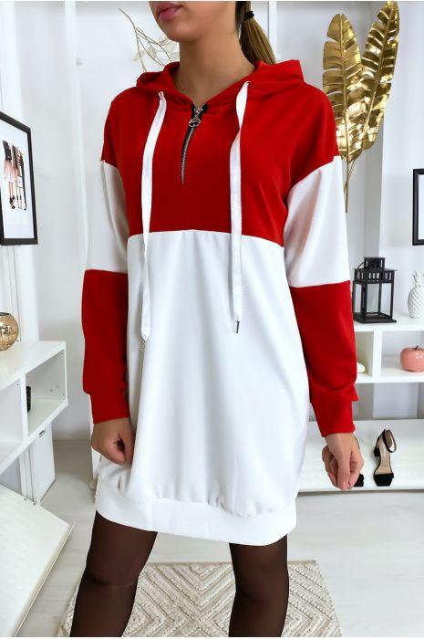 Robe sweat rouge à capuche