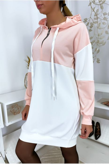 Robe sweat rose à capuche