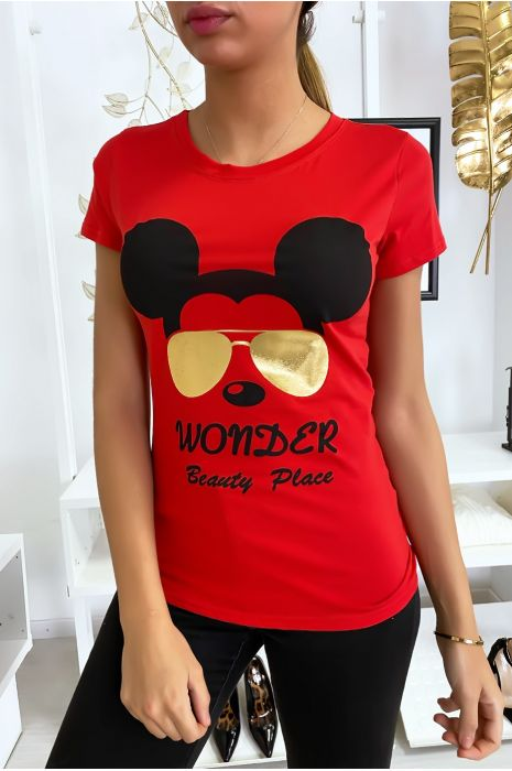 T-shirt rouge Mickey