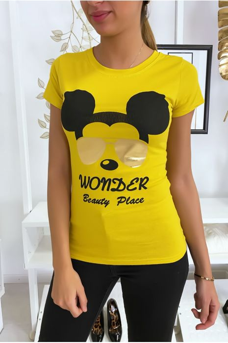 T-shirt moutarde Mickey