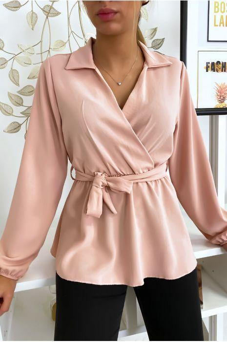Chemisier blouse rose noué à la taille